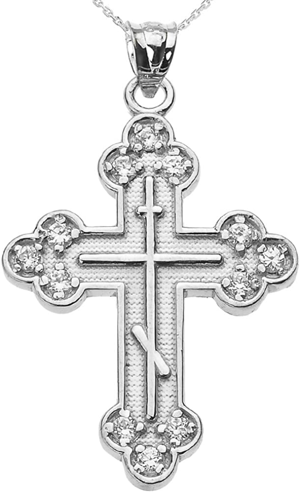 925 Sterling Silver Eastern Orthodox Cross Religious Pendant Charm Necklace