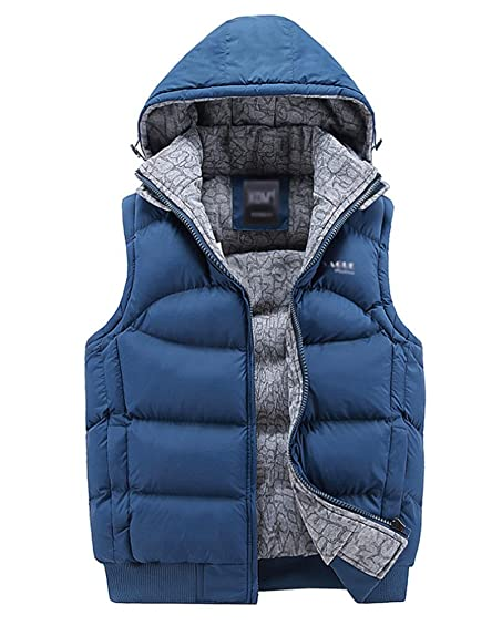 Brinny Herren Weste Übergangsweste Detachable Hoody Steppweste  Reißverschluss Kapuzen Waistcoat Daunen Cotton Gilet Gepolstertjacket Coat  Blau