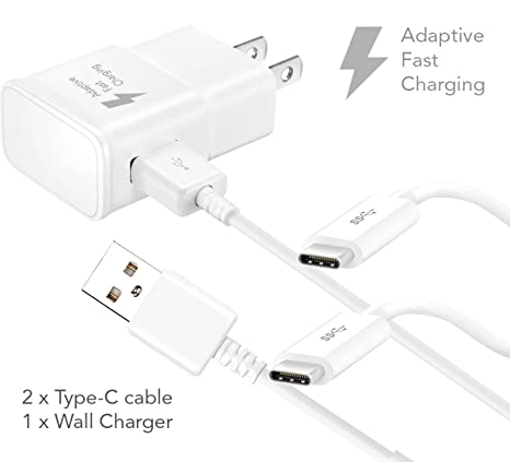 LG G5 Adaptive Fast Charger Type-C USB 2.0 Cable Kit by Ixir - {Wall Charger + 2 Type-C Cable} True Digital Adaptive Fast Charging uses Dual voltages ...