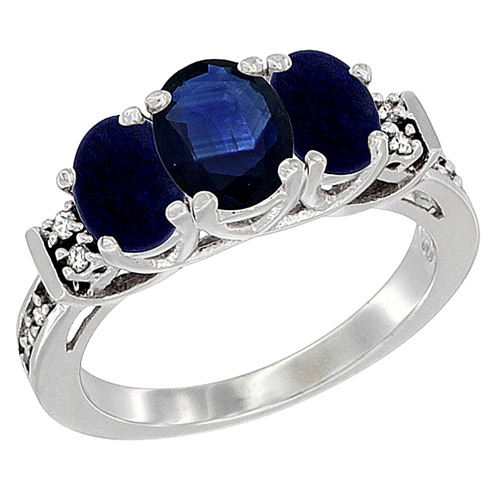 10K White Gold Natural Blue Sapphire & Lapis Ring 3-Stone Oval Diamond Accent, size 7