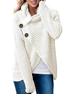 Sweat Asymetrique Femme Mode Pull Col Montant Haut Tricot Blouse Manche  Longue Chemise avec Bouton Tunique… 57df0cc29b4