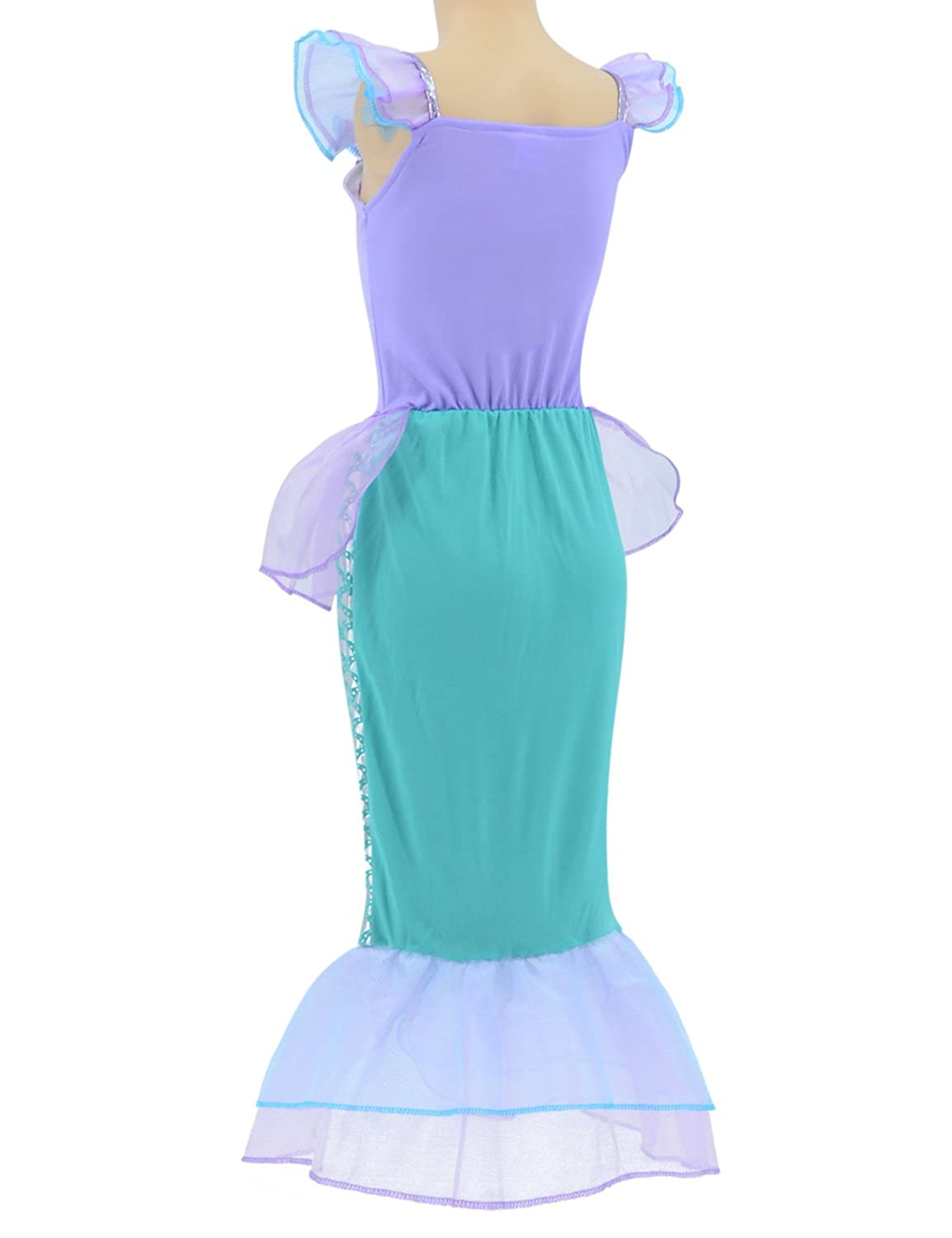 Little Mermaid Princess Ariel Costume for Girls Dress Up Party with ...