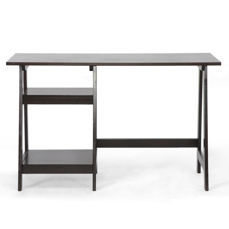 small modern desk. Amazon.com: Baxton Studio Mott Dark Brown Wood Modern Desk With Sawhorse Legs, Large: Kitchen \u0026 Dining Small