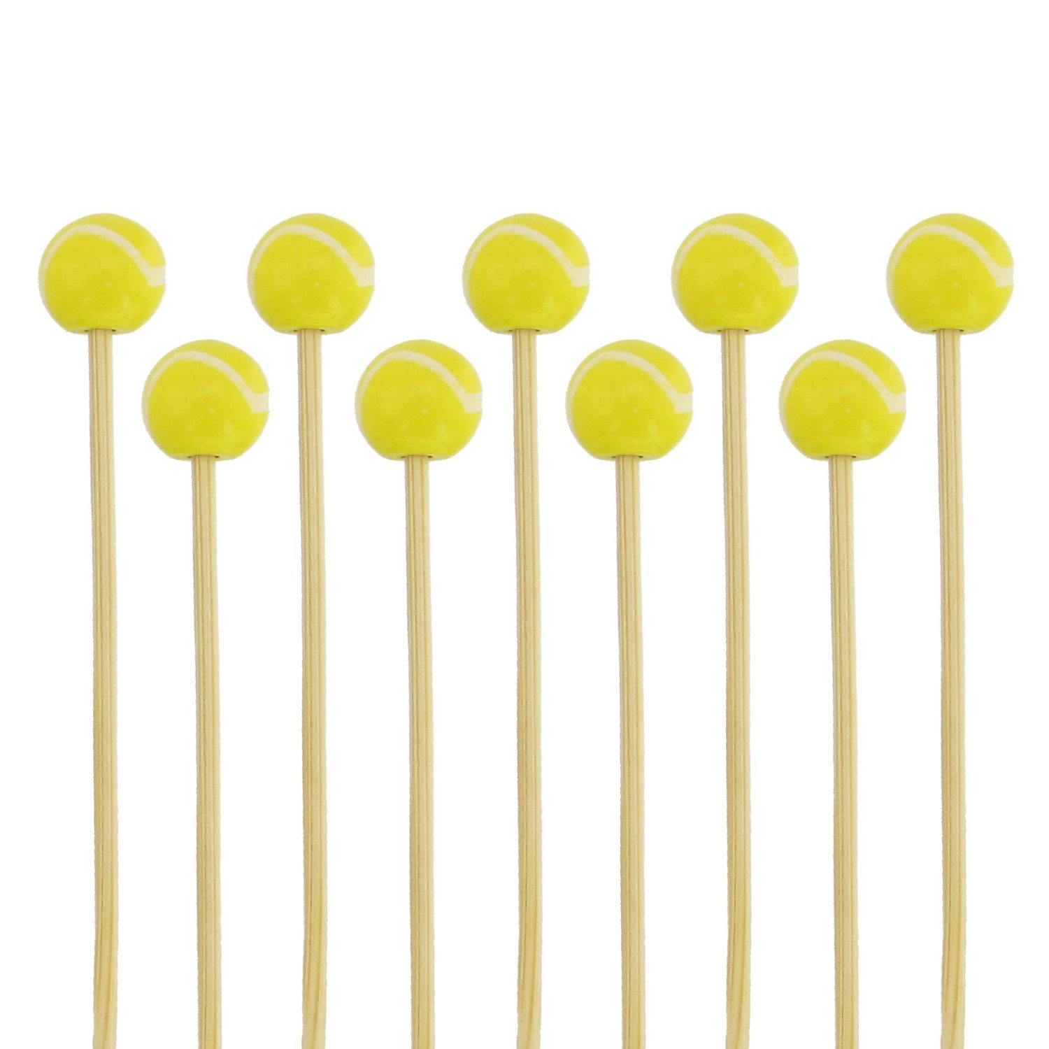 BambooMN 5.9''Decorative Sports Ball End Bamboo Cocktail Fruit Sandwich Picks Skewers for Catered Events, Holiday's, Restaurants or Buffets Party Supplies, Tennis, 100 pcs