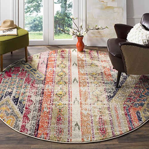 Safavieh Monaco Collection MNC222G Modern Bohemian Light Grey Distressed Round Rug (4' in Diameter) (4 Round Loops)