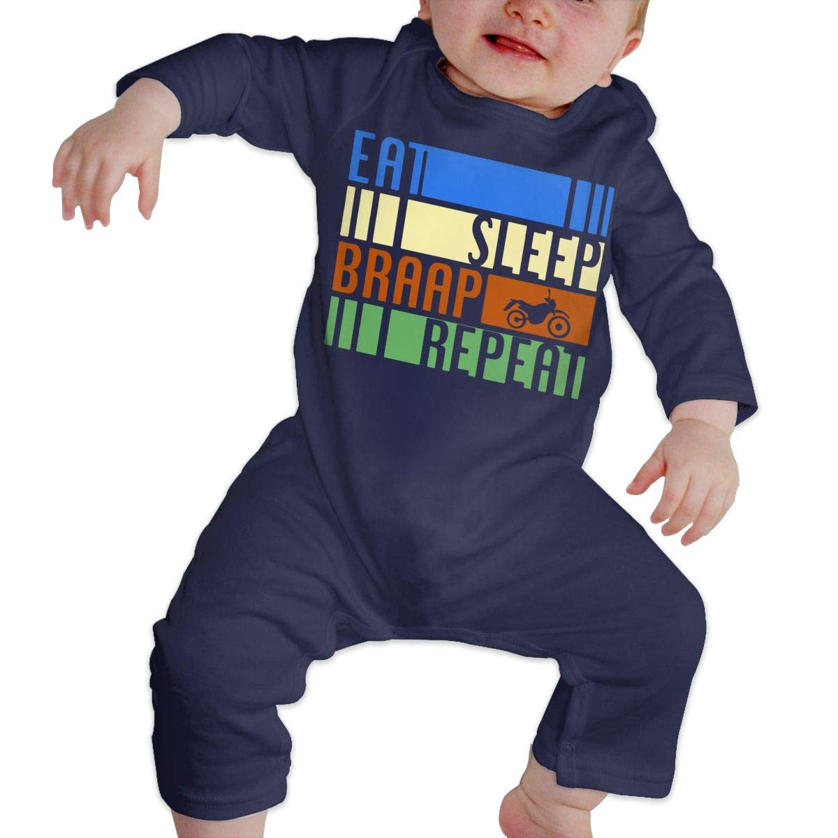 Mri-le1 Baby Boy Girl Jumpsuit Retro Eat Sleep Braap Repeat Motocross Kid Pajamas