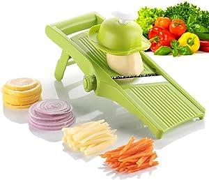 Mandoline Slicer Spiralizer Vegetable Slicer - Vegetable Chopper Potato Slicer Peeler Adjustable Blades Thickness Foldable Kitchen Maker for Lemon Potato Onion Chips