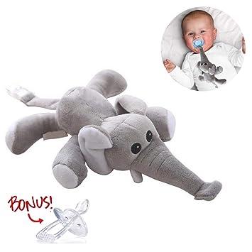 Amazon.com: Elefante soporte para chupete – peluche de ...