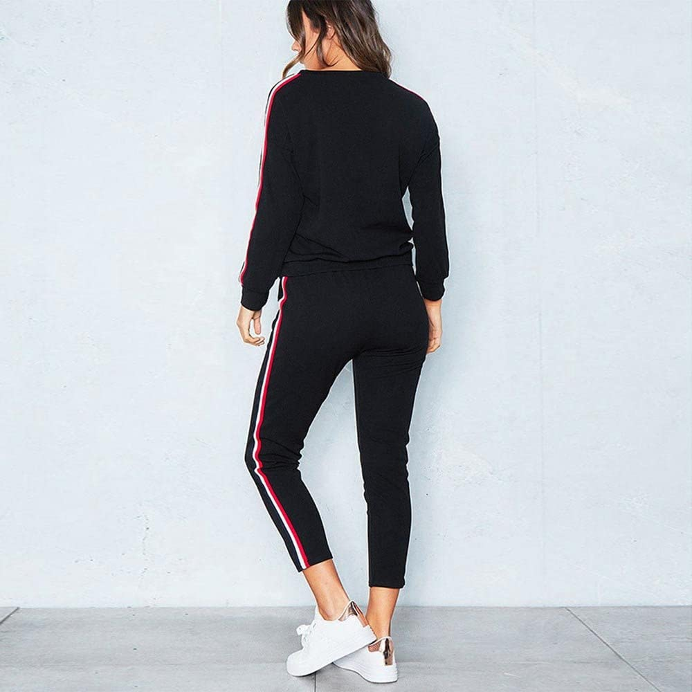 Long Pants Sets Sportswear Suit Womens Sport Lounge Wear Running Workout Gym Sweatshirt Pullover Jumper Outfit Tomatoa Ladies Tracksuit 2Pcs Casual Long Sleeve Tops