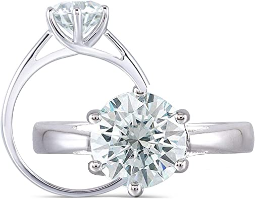 Moissanite Stone Band Sterling Silver Made To Order