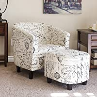 Merax Script Linen Fabric Accent Chair Upholstered Living Room Armchair and Ottoman (Beige with Script)