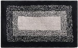 Bathroom Rug,HAOCOO Banded Ombre Black Bath Mat Non-Slip Door Carpet Soft Luxury Microfiber Machine-Washable Floor Rug for Doormats Tub Shower (20x31 inch)