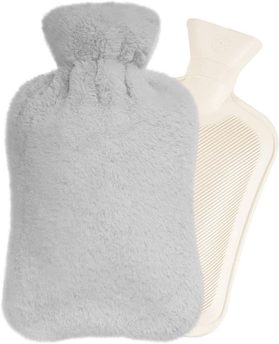 Easycosy Long Hot Water Bottle- Bed Warm Waist Warm Back Hot Water Bottle with Super Soft Plush Material Cover 2L Pure Natural Rubber-33cm for Back, Neck, Legs (Grey)