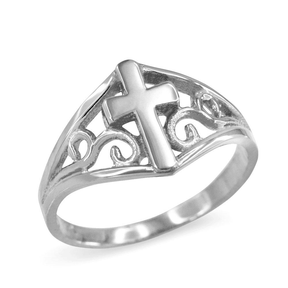 Filigree Cross Ring for Women in Fine 925 Sterling Silver (Size 7.75)
