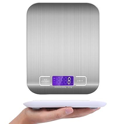 Noa Báscula de Cocina, 5 kg Báscula de Cocina multifunción de Acero Inoxidable Alimentos electrónica