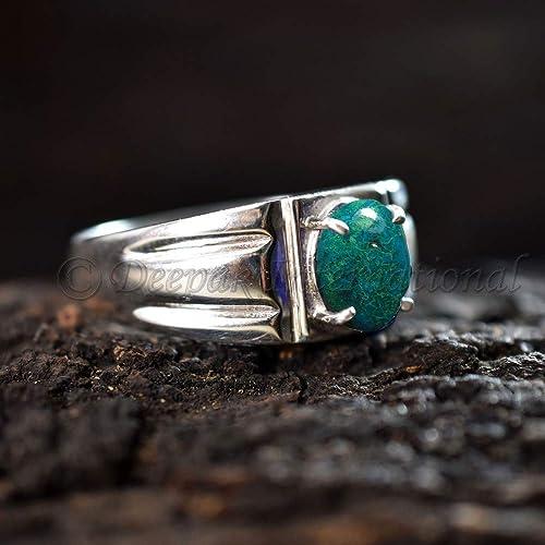 2c2f5335e7f82 Amazon.com: Natural Chrysocolla Jasper Ring Solid 925 Sterling ...
