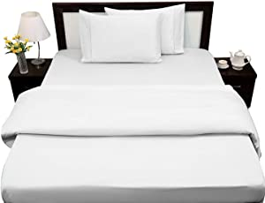 "Rajlinen Bed Sheets Set 100% Egyptian Cotton 400 Thread-Count Queen Size Wrinkle, Fade, Stain Resistant - 4 Piece (Solid White) 16"" Drop"