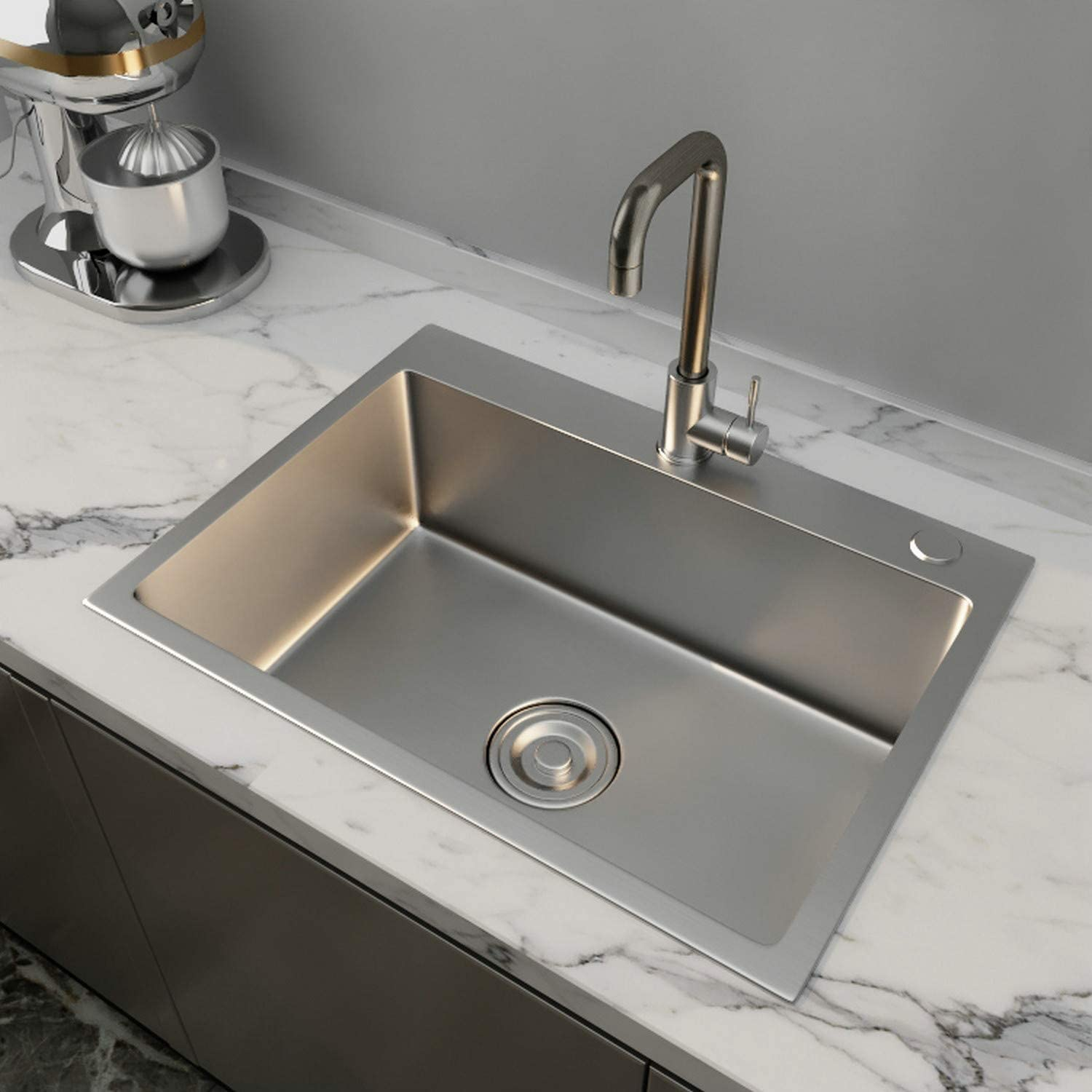24x18 stainless steel kitchen sink include faucet drain 8 deep single bowl drop in
