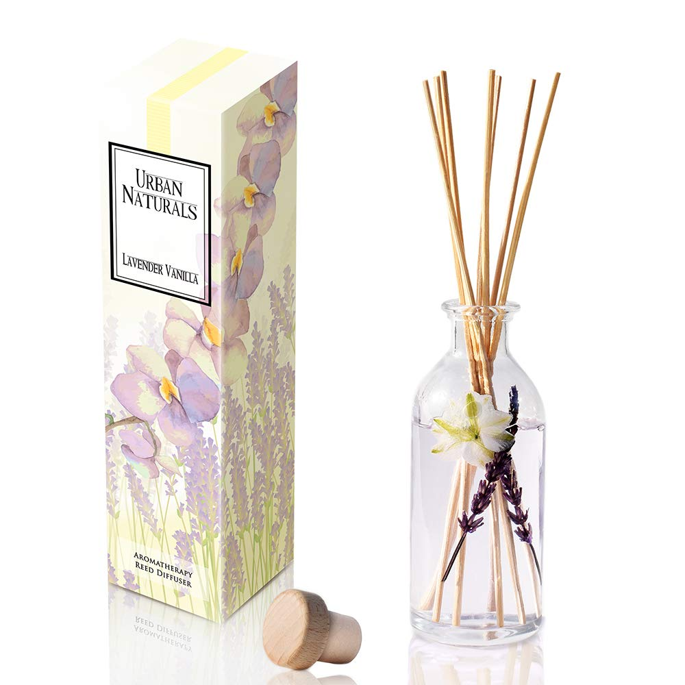 Urban Naturals Lavender Vanilla Reed Diffuser Set | Room Scent Infuser Real Lavender & Natural Flowers | Soothing Scent Makes a Great Housewarming Gift | Beautiful Home Decor Made in The USA