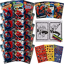 Set Of 15 Spiderman Play Packs Fun Party Favors Coloring Book Crayons Stickers