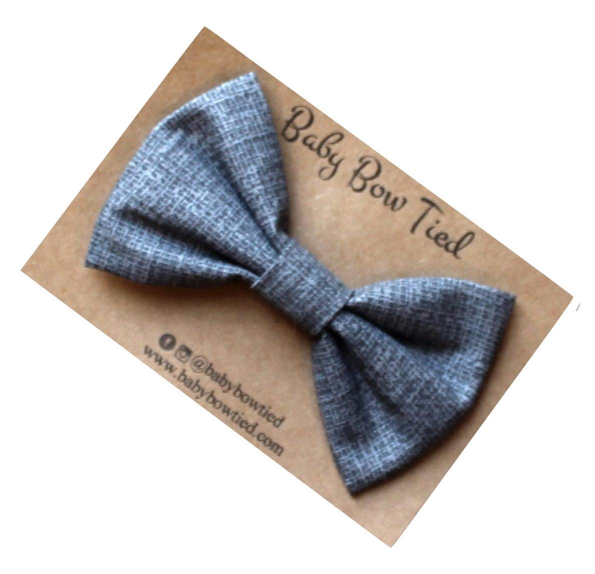 Handmade Grey Pre-tied Clip on Bow Tie for Baby/Toddler