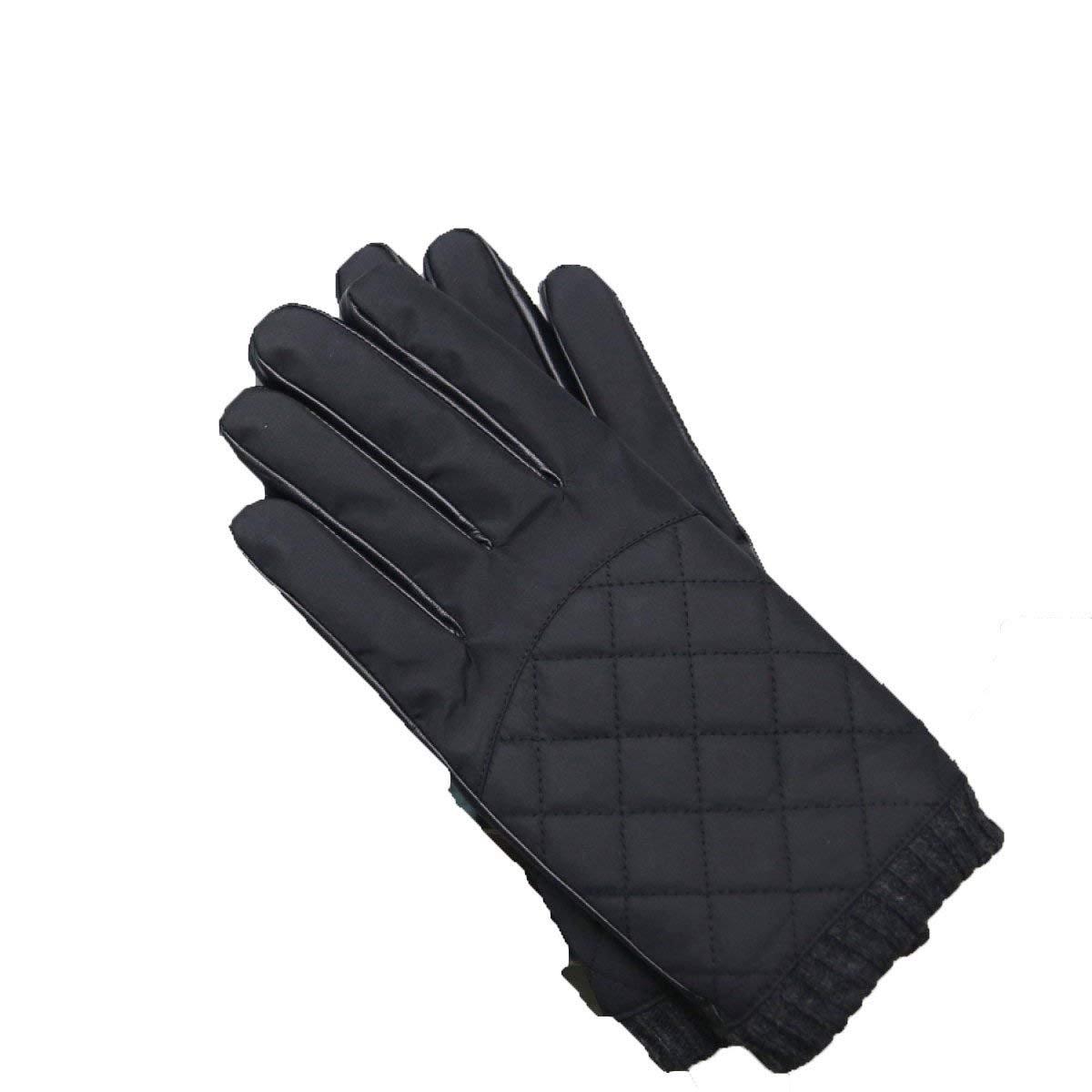 CWJ Men's Autumn and Winter Leather Gloves Driving Short Paragraph Parachute Cloth Rhyme Grid Lattice Cashmere Warm,Black,One Size