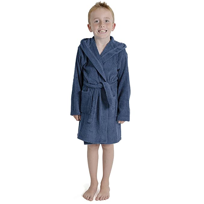 Aumsaa Boys Children Dressing Gown Hooded Towelling Bathrobe 100/% Cotton Terry Towel Bath Robe Soft Towling Lounge Wear 7-13 Years