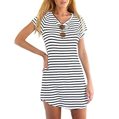 2eb80e56c6d Tenworld Women Crew Neck Short Sleeve Striped Loose T-Shirt Mini Dress(S -