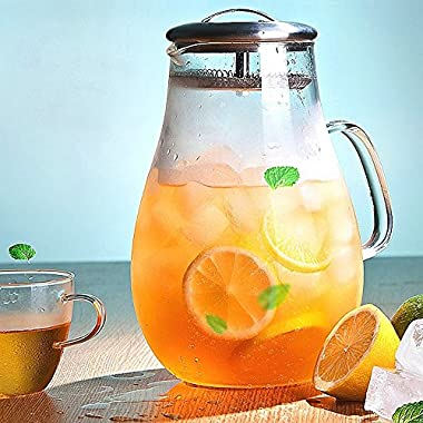Hiware Glass Pitcher with Stainless Steel Lid and Spout 64 Oz Water Carafe with Handle, Good Beverage Pitcher for Homemade Juice & Iced Tea