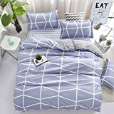 Bedding Children Duvet Cover Set Flat Bed Sheet Pillowcase No Comforter 4pcs SJD Twin Full Queen Full Love Lasting Stripe lattices Designs for Kids Children (Lasting Stripe,Blue, Twin,59''x78'')