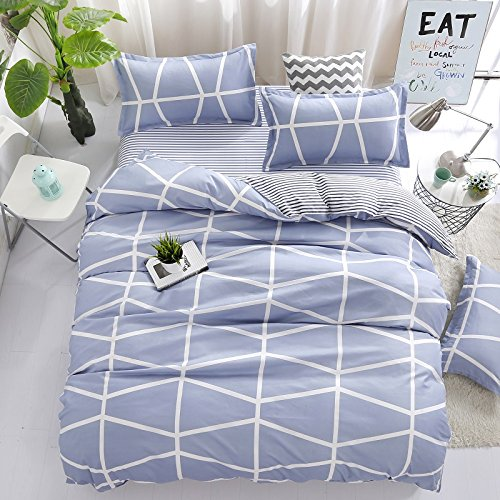 Bedding Children Duvet Cover Set Flat Bed Sheet Pillowcase No Comforter 4pcs SJD Twin Full Queen Full Love Lasting Stripe lattices Designs for Kids Children (Lasting Stripe,Blue, Twin,59''x78'')