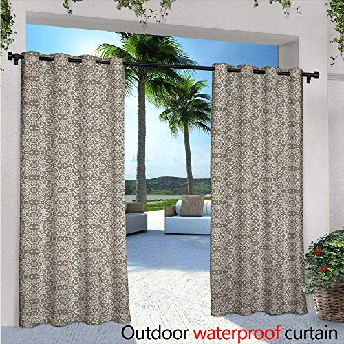 Glimpse Antique Pearl - Vintage Outdoor- Free Standing Outdoor Privacy Curtain W84