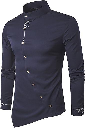 waotier Camisetas De Manga Corta para Hombre Camisa con Cuello De Manga Corta Y Bajo Irregular Ropa Hombre Verano: Amazon.es: Ropa y accesorios
