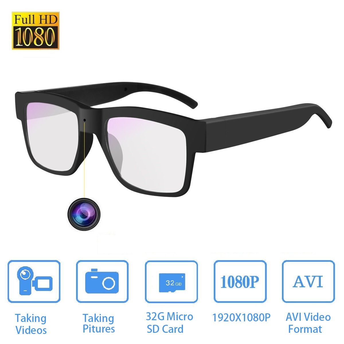 Camera Glasses HD 1080P,Towero Hidden Spy Camera Glasses for Work/Outdoor/Training/Teaching/Kids/Pets