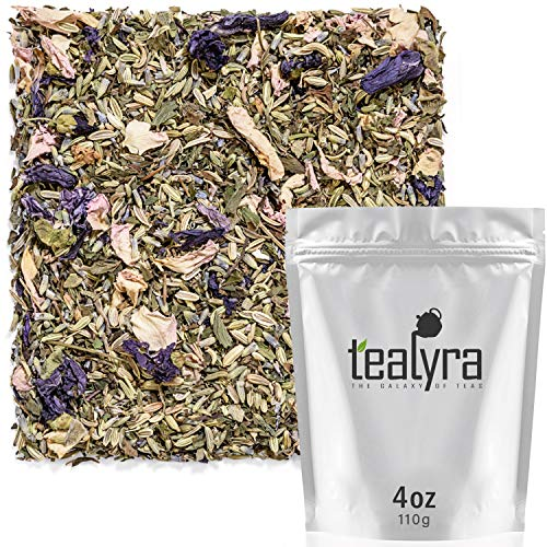 - Tealyra - French Countryside - Fennel - Peppermint Lemon Balm - Lavender - Sage - Herbal Loose Leaf Tea - Calming and Relaxing - Perfect Bed Time Tea - Caffeine Free - 112g (4-ounce)