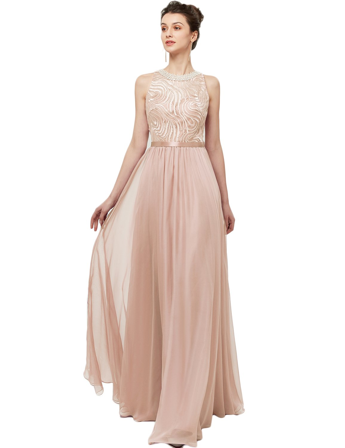Long Bridesmaid Dress 2018 Sleeveless A Line Chiffon Maxi Evening ...