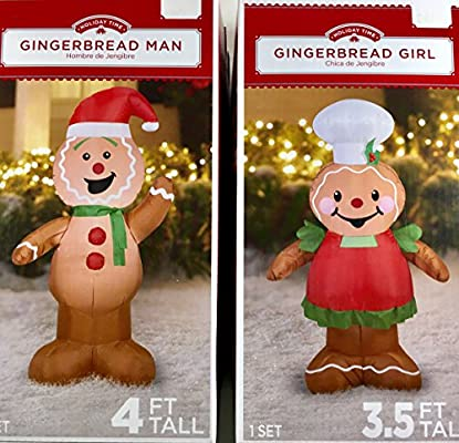 Sensational Airblown Inflatable Outdoor Christmas Characters Gingerbread Man And Girl Set Interior Design Ideas Oteneahmetsinanyavuzinfo
