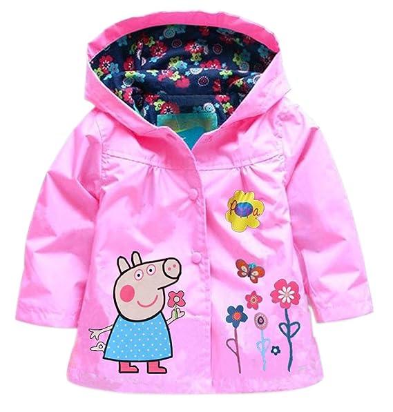 Ladybug, 6t Sidkk Little Girls Raincoat Cute Pattern Hoodies Waterproof Rain Jackets