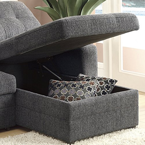Gus Sectional Sofa with Pull Out Bed Charcoal