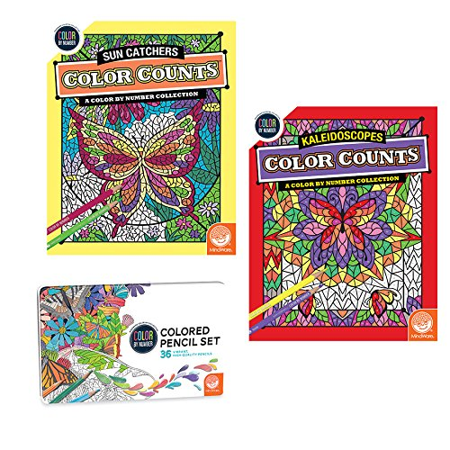 MindWare Color by Number Color Counts: Kaleidoscopes and Sun Catchers Set of 2 with Pencils