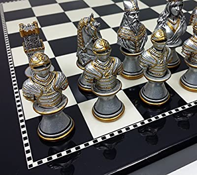 "Medieval Times Crusades Knight Chess Set Gold & Silver Busts W/ 15"" High Gloss Black & White Board"