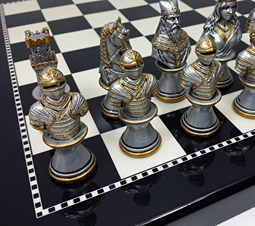 Medieval Times Crusades Knight Chess Set Gold & Silver Busts W/ 15