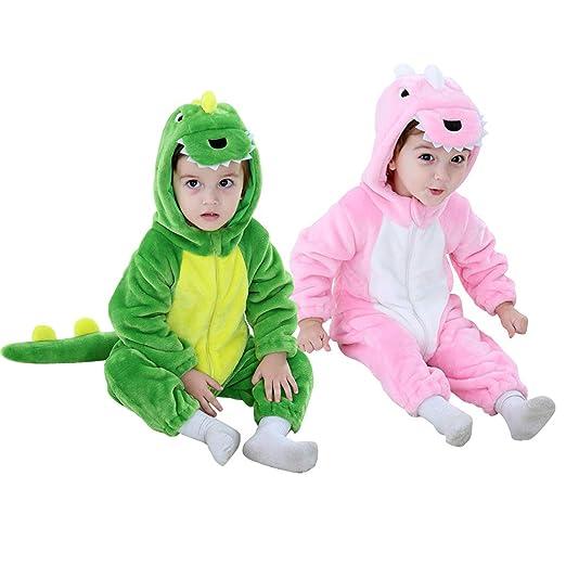 c61f11820 Amazon.com: Dinosaur Costume Kids Hooded Onesie Animal Costume Halloween:  Clothing