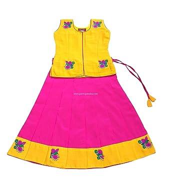 c5f29fce60 Amazon.com: Pattu Pavadai Traditional Silk Fancy Langa Yellow and ...