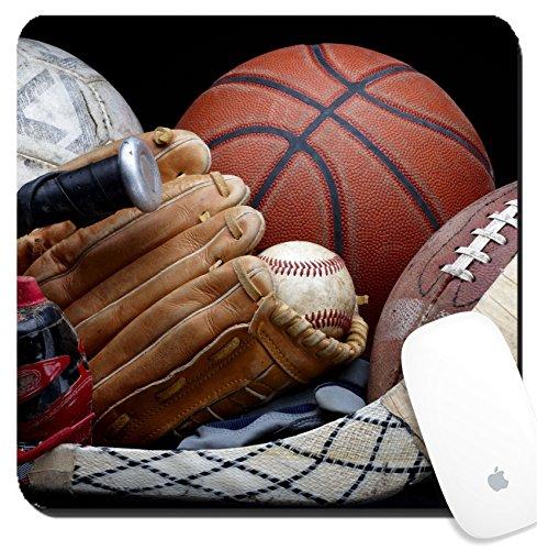 Luxlady Suqare Mousepad 8x8 Inch Mouse Pads/Mat design IMAGE ID 6832161 Close up shot of old soccer ball basketball baseball football bat hockey stick baseball glove and (Big Stick Black Bat)