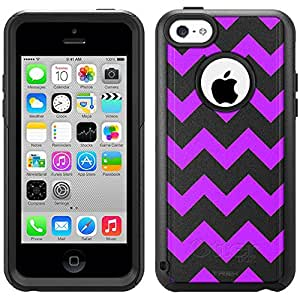 Skin Decal for Otterbox Commuter iPhone 5C Case - Anchor Chevron Purple and Black Pattern