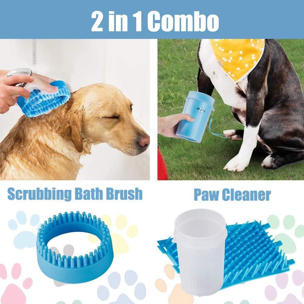 Limpia Patas Perro Port/átil,Taza de Limpieza para Mascotas,Limpiador Patas Perro Mascota,Peine de Pulgas para Perros,Peine De Pulgas,Guante de Microfibra,Cepillo Guante