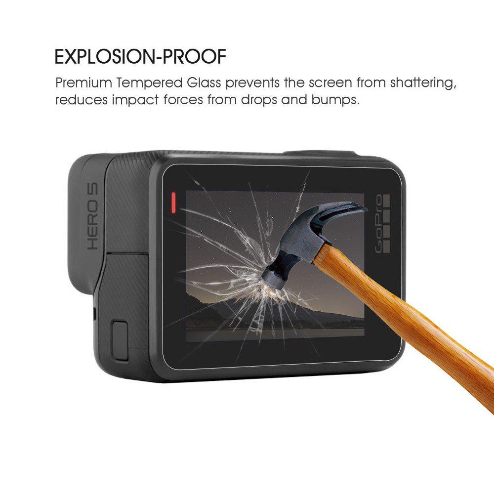 Protector de pantalla para GoPro Hero 6/5 (Pantalla y lente), YSSHUI Paquete de 3 (6 piezas) Accesorio de película para pantalla de vidrio templado Hero6 ...
