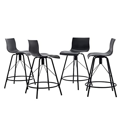 Changjie Furniture 26 Inch Modern Metal Barstools For Indoor Outdoor Kitchen Counter Height Bar Stools Set Of 4 26 Inch Black