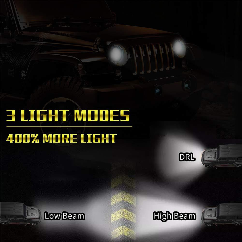 300W Blinker Wei/ß DRL f/ür Harley Davidson Wrangler Schwarz FidgetFidget 7 Runder LED-Scheinwerfer
